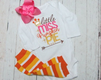 Little Miss Pumpkin pie - Girls fall embroidered shirt