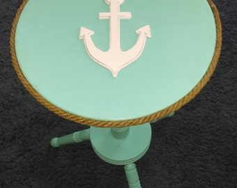 Nautical//Light Blue and White//Beach Decor//Anchor//Table//Furniture//Rope//Vintage//Small Space