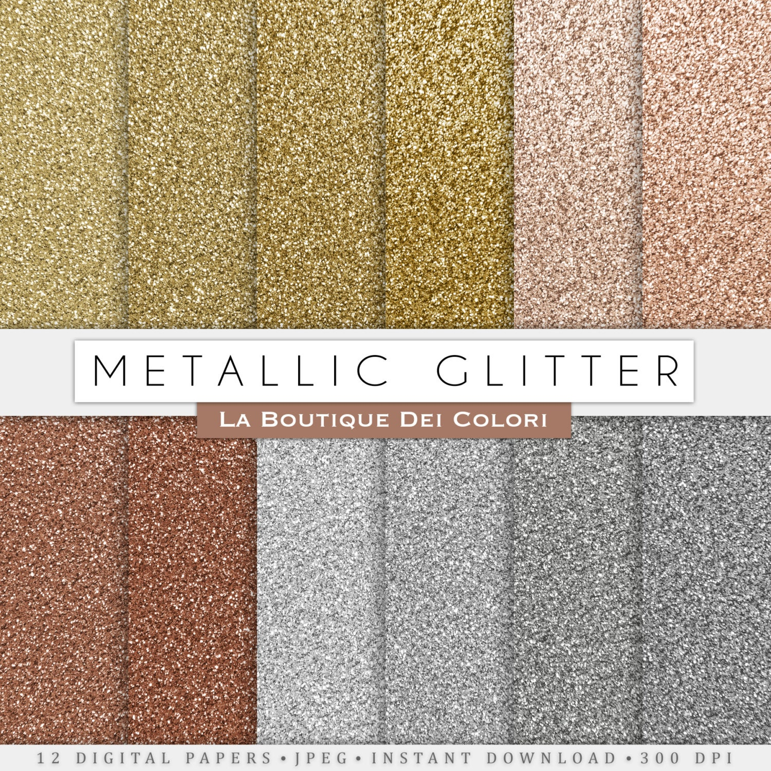 How to scrapbook with glitter paper - Metallic Glitter Digital Paper Gold Silver And Bronze Glitter Digital Papers Scrapbooking Printables Cards Commercial Use