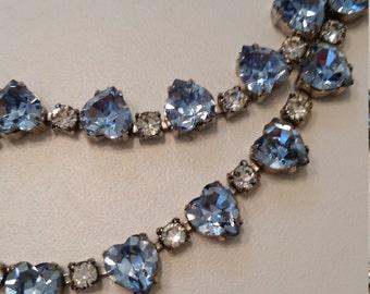 Hattie Carnegie Necklace.  Aquamarine Blue Hearts and Clear Brilliant Cut Rhinestones
