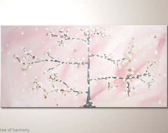 """Large fine art painting in 47x24 inches: """"Tree of harmony"""" - Wall hanging streched on wooden frame. Abstract tree wall art with warm colors"""