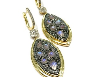 Sterling Silver Moonstone and Diamond Earrings