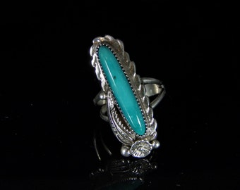 Sleeping Beauty Turquoise Ring Sterling Silver Handmade Size 9.0, R0473