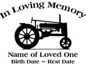 In Loving Memory Tractor Decal Sticker