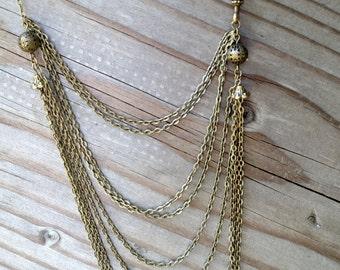 Multi strand bronze chain necklace