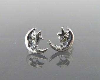 Vintage Sterling Silver Moon & Star Stud Earrings