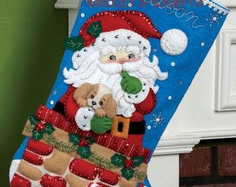 "Bucilla Santa's Secret 18"" Christmas Stocking Kit #86280 DIY"