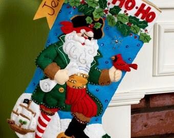 "Bucilla Pirate Santa ~ 18"" Bucilla Felt Christmas Stocking Kit #86183 Ship, Gold DIY"