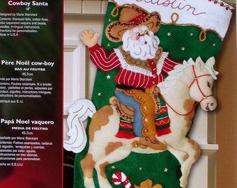 "Bucilla Cowboy Santa ~ 18"" Felt Christmas Stocking Kit #85468 Western Horse DIY"