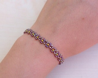 Lilac Purple Daisy-Chain Beaded Bracelet