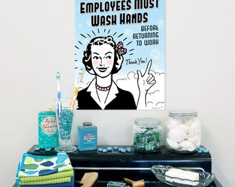 Employees Must Wash Hands Metal Bathroom Sign - #56052