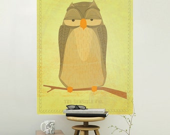 Sensible Owl Rustic Bird Wall Decal - #62988