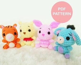 PATTERN: Pooh and Friends Crochet Amigurumi Doll PDF Crochet Pattern - Instant Download