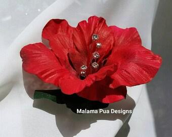 "HIBISCUS HAIR Clip - ""Real Touch"" flower, Red Hair flower, Bridal Clip, Headpiece, Silk Flowers, Hawaiian, Crystal Center, Beach Wedding"