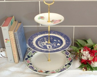 Beautiful Vintage Plates Cake Stand - 3 Tier - With Contrasting Blue, White & Pink Flowery Plates and Gold Stem - F21