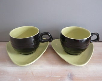 2 Black & Yellow Coffee Cups with Triangular Saucers 1960s 1970s Habitat Style Retro Vintage Mid Century