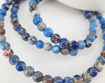 """Full Strand 16"""" 4mm Smooth Round Light Blue Sediment Imperial Jasper Beads Emperor Jasper Beads Imperial Jasper"""