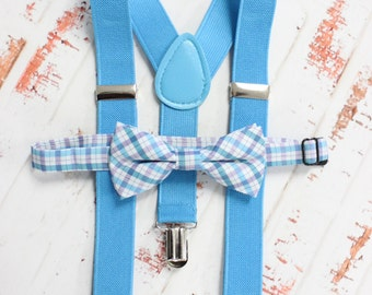 Boys suspender and bow tie set, fits boys 3-12yrs - adjustable