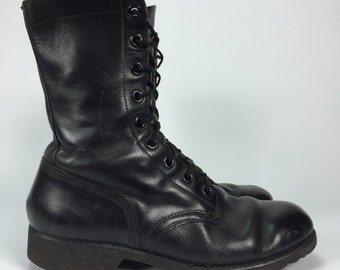 Size 9R - Mens Leather Combat / Motorcycle Boots