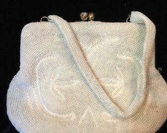 Vintage White Beaded Intricate Design Clutch