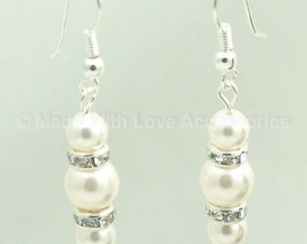 Pearl Earrings - Sterling Silver - Swarovski Pearl Bridal Earrings