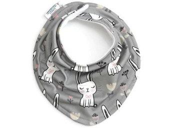 Organic baby bandana bib, baby bib, bandana bib, scarf bib, drool bib, bunny bib baby, bandana scarf bib, organic grey bunny bib