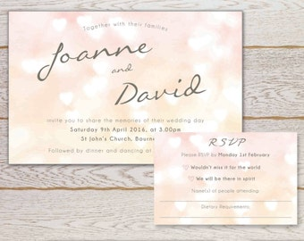 Heart Invitation and matching RSVP