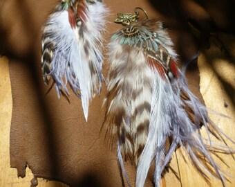 Feather earrings, boho earrings, tribal gipsy jewelry, hippie earrings.