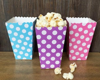 Light Blue, Pink and Lilac Polka Dot Popcorn Boxes- Treat Boxes- Birthday, Easter, Baby Shower Party Supply - 36 Ct.