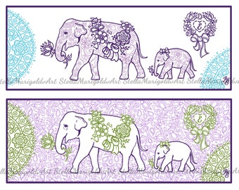 Arabesque Elephant - Coloring Page Bookmark