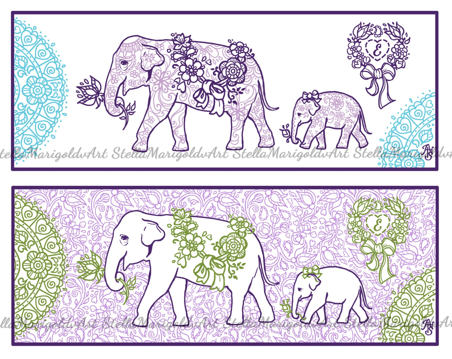 Arabesque Elephant Coloring Page Bookmark