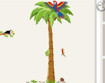 Wall decal palm tree PARROT