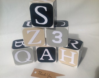 Black and Gray Wood Alphabet Baby Building Blocks - Wood Alphabet Blocks - Wood Baby Blocks - Wood and Numbers Block Set