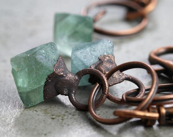 Copper Keychain Electroformed Key Clip Raw Fluorite Key Ring Fluorite Octahedron Copper Key Clip Copper Rustic Natural