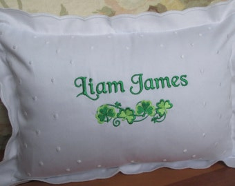 Monogrammed Personalized Irish Baby Pillow / Swiss Dot Style / Name and Date/Shamrocks