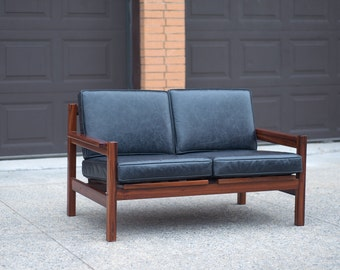 Mid Century Danish Rosewood and Leather Loveseat
