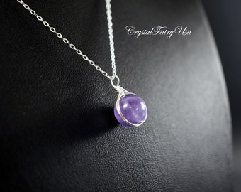 Amethyst Necklace - February Birthstone Necklace, Sterling Silver Wire Wrapped Amethyst Jewelry
