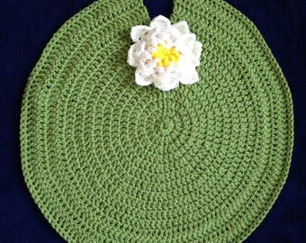 Crocheted Yarn Newborn Photo Prop Lily Pad and Water Lily