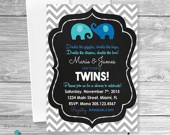 Twin Elephant Baby Shower Invitation - Twin Baby Shower Invitations - Cute Twin Baby Shower Invitations - Elephants - Printable Invitations