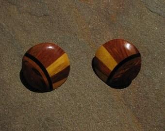 Vintage Wood Earrings/Studs - Geometric - Handmade - Richwood