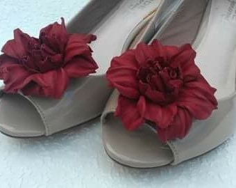 Red Flowers Shoe Clips Made of Genuine Real Leather Decoration For Shoes  Women Accessories Wedding Bridal Casual Formal Decoration or Gift