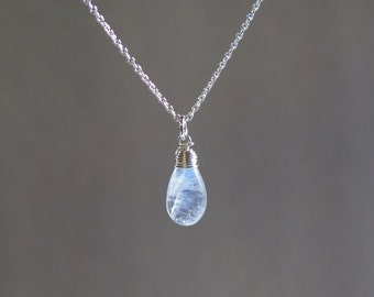 Rainbow Moonstone Necklace - June Birthstone - Sterling Silver