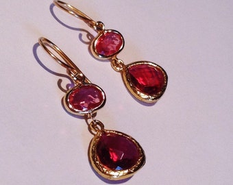 Ruby Red and Gold Christmas Earrings / Cranberry Red Dangle Earrings /Dark Red Holiday Earrings/ Xmas Earrings