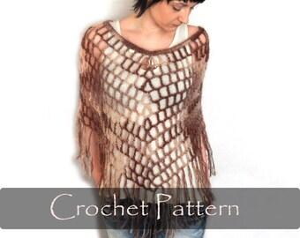 CROCHET PATTERN - Crochet Spiderweb Poncho Crochet Poncho Pattern Fringes Lacy Capelet Pattern Fishnet Poncho Cobweb Cape PDF - P0006