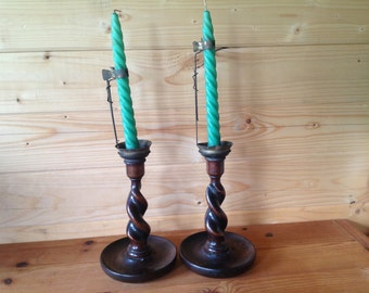 1900s Hand Turned Wood - Oak Barley Twist Candle Stick Pair with Wax Catchers - French