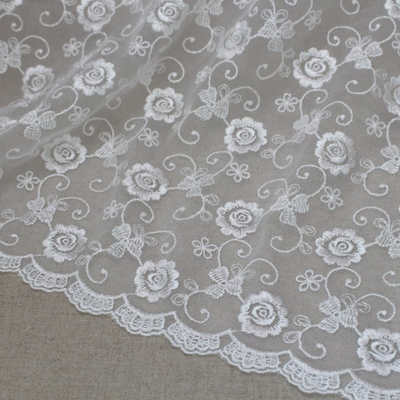 Y broderie anglaise tulle lace fabric ivory cm x