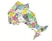 Ontario Province Map Wildflowers  8x10 print