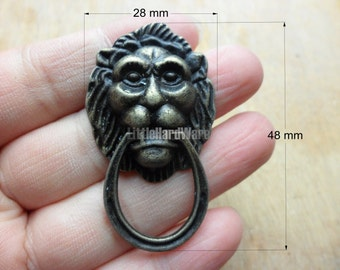 2Pcs 28mmX48mm vintage mini Lion ring pulls,drawer pull handles with screws - DP0363