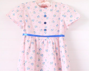 Vintage baby dress.soft pink with blue flowers, No Name Dress for 12 Mo