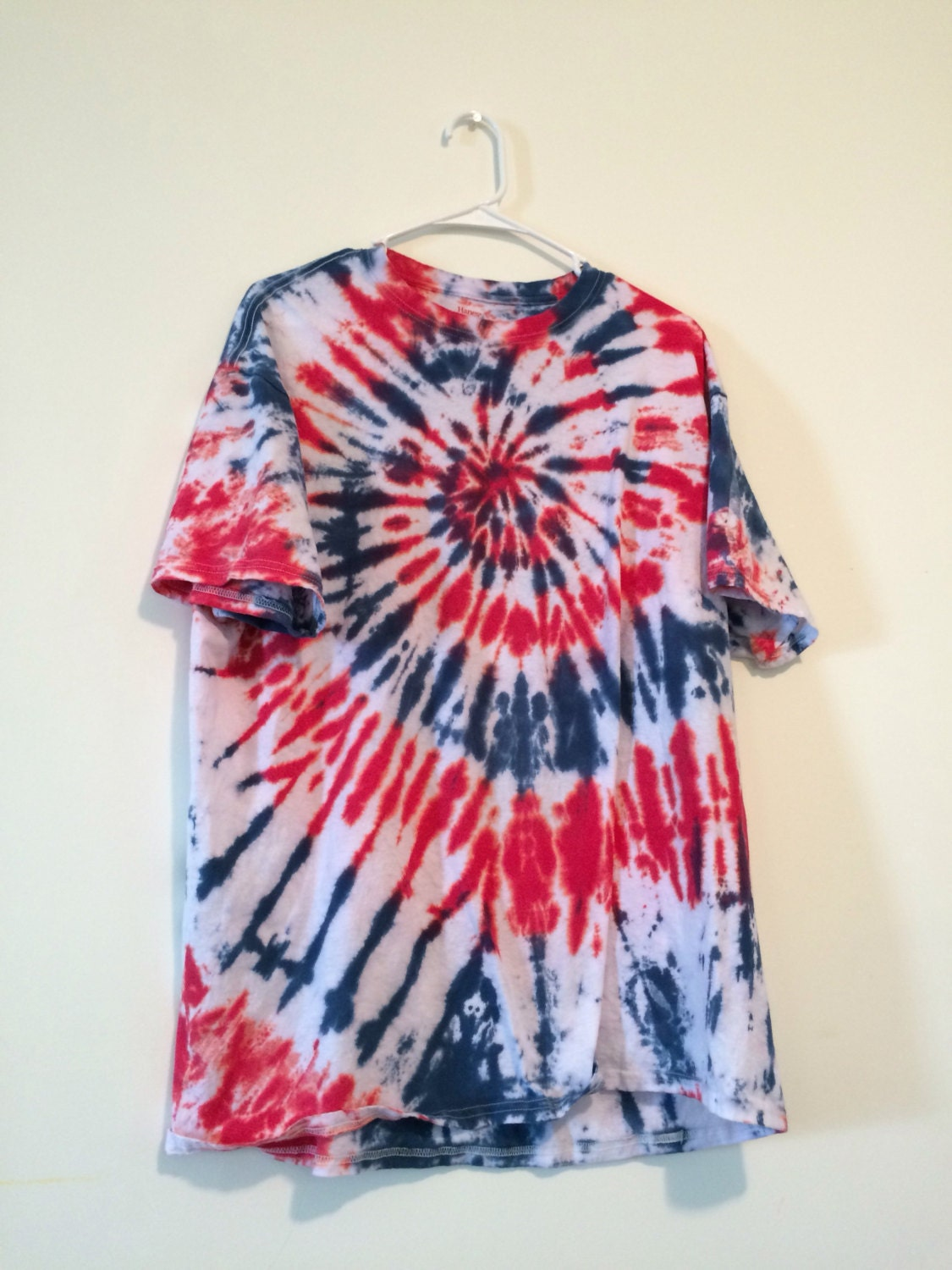 Patriotic Red White And Blue Spiral Tie Dye Tee Men 39 S Xl